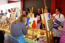 bedrijfsuitje philips schilderen met acryl